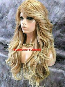 HUMAN HAIR BLEND FULL WIG EXTRA LONG WAVY LAYERED MEDIUM BLONDE MIX #T27.613 NWT