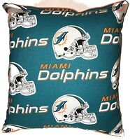 Dolphins Pillow NFL Pillow Miami Dolphins Pillow Football Pillow HANDMADE In USA