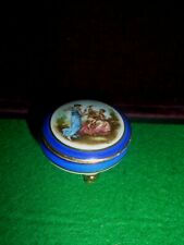 box porcelain small LIMOGES with Painted scene on lid with signature