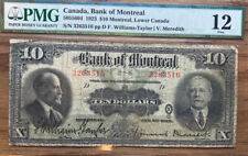 Pmg 1923 Bank of Montreal; Lower Canada $10 Fine 12