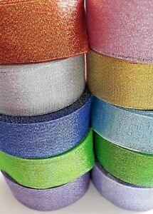 40 mm Sparkle / Glitter ribbon,10 colours, for cakes, bows, decoration & crafts.