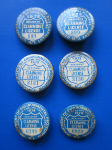 6 New Jersey Resident Clamming License Pinback Pin Button Fishing  47 YEARS  OLD