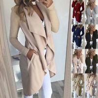 Women Spring Autumn Casual Long Trench Jacket Coat Windbreaker Outwear Plus Size