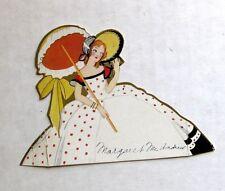 Vintage Bridge Tally Place Card Large Dress w/ Parasol