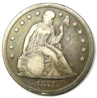 1871 Seated Liberty Silver Dollar $1 - VF Details- Rare Early Coin!