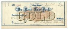 1872 The Bank of New York Check for $1009 in Gold - Handsome EF