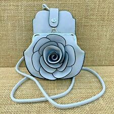 Pale Grey Rose cross body bag small purse with Phone Spectacles Holder 2 straps