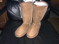 Winter Boots Women's Warm Faux Fur Suede Mid Calf Brown Snow Boot US Size 9