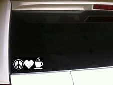 "Peace Love Coffee vinyl window sticker car decal 6"" *C20* espresso star hippy"