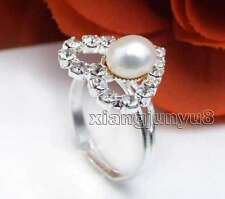 SALE Fashion 15mm Heart & Natural White Pearl Opening Adjustable #8-#9 Ring-20