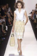 $1750.00 OSCAR DELA RENTA Runway Embroidered dress Linen Yellow Skirt Size 2