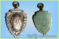 A Shiled Type Bimetallic 9ct. Gold on Sterling Silver Fob. 'N.S' 1916
