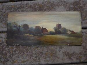 Antique English village landscape original oil painting