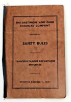 Vintage 1951 B & O Railroad Train Safety Rules Book Handbook No. 12554 24 Pages