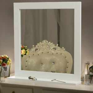 White Wooden Frame Vanity Makeup Wall Mirror with Shelf Dressing Table Bedroom