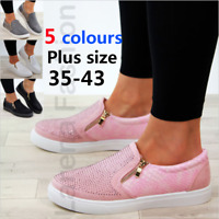 Women Casual Rhinestone Zipper Flats Round Toe Snakeskin Loafers Comfy Lady Shoe