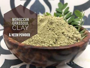 Pure Rhassoul Ghassoul Moroccan Lava Clay Powder with Organic Neem Repair Vegan