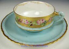 THEODORE HAVILAND HAND PAINTED FLOWERS DEMITASSE CUP & SAUCER