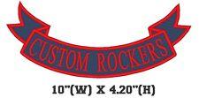 """Custom Embroidered Bottom Rocker Ribbon Patch Vest Outlaw Biker MC Badge 10"""" (E)"""