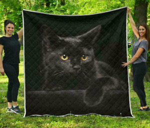 Black Cat Blanket Soft Fleece Blanket Gifts, Black Cat Quilt Free Shipping