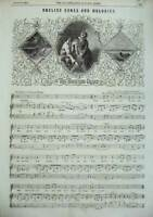 Old Antique Print 1856 Sheet Music English Songs Melodies Trusting Heart 19th