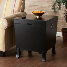 Hope Chest Storage Trunk Wooden Black End Table Small Box For Quilts Blanket