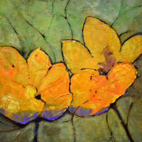 Large Art Canvas Original Acrylic Flowers Floral Painting. Abstract Wall Decor