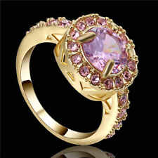 Elegant 10K yellow Gold Filled Men's Ring With CZ Pink Sapphire Size 8