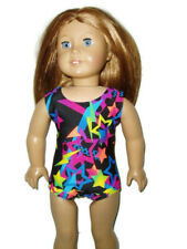 "Bright Colorful Stars Leotard fits American 18"" doll clothes Girl Gymnastics"