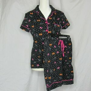 Disney Luxe Minnie Mouse Pajama Shorts Set Two Piece Size Small Black