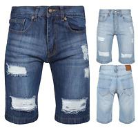 Mens Boys Jeans  Stretch Disstresed Ripped Denim Pockets Classic Denim Shorts