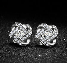 Solid 925 Sterling Silver CZ Halo Knot Flower Stud Earrings Jewellery Women Lady