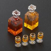 6 Set 1/12 Dollhouse Mini Whiskey Miniature Wine Bottle Glass Pub Model Toys