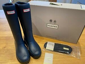 Hunter Balmoral Hybrid Wellington Boots Navy Blue Size UK 5 New & Boxed RRP £160