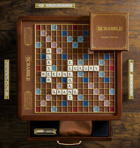 Winning Solutions Luxury Edition Scrabble Game Rotating Faux leather Board NEW