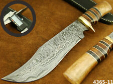 SUPERB QUALITY HANDMADE DAMASCUS STEEL HUNTING BOWIE KNIFE W/SHEATH (4365-11