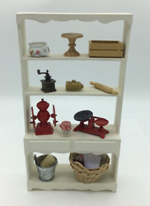 Dolls House Tall Kitchen Shelf Unit With Accessories