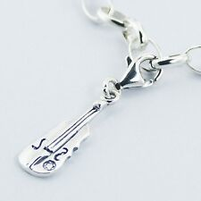 Unique 925 Silver Jewelry String Instrument Clip on Charm Pendant @NEW@