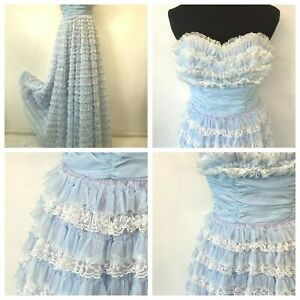 Vintage Prom Dress size XS Frilly Light Blue Lavender Sweetheart Strapless DS17