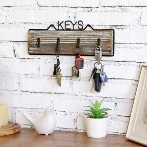 Rustic Torched Wood Wall Mounted 4-Hook Key Rack w/ Metal Frame KEYS Design