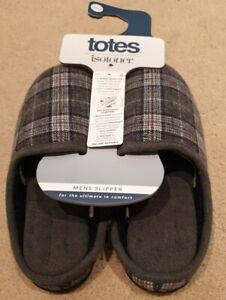 Totes Isotoner Felt Checked Men's Grey Slippers Memory Foam UK Size 8 RRP £28