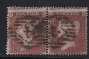 GB - penny red pair - Sg17 - used (Spectacular misperf)