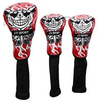 3pcs Golf Wood Skull Monster Headcover #1#3#5 Cover for Golf Driver Fairway Wood