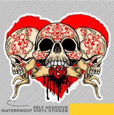 666 SKULL HEART VINTAGE Adesivo Vinile Decalcomania Finestra Auto Van Bici 2931