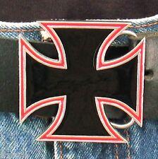 Boucle de ceinture CHOPPER CROSS Etain émaillé - USA - Style BIKER HARLEY