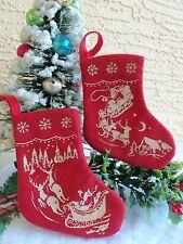 2 RETRO STENCILED SANTA&SLED&REINDER CHRISTMAS STOCKINGS MADE FOR CRACKER BARREL