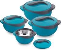 Storage Pot Casserole Serving Bowls Keep Food Salad Fresh Hot Round 4 Set Blue
