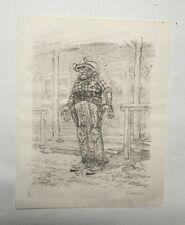 Lithographie ancienne signée D. Goossens. Cow-boy, bande déssinée