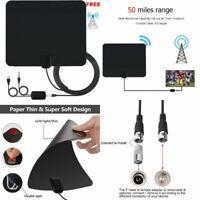 UK Indoor Amplified TV Aerial Digital HDTV Antenna Signal Booster 50 Miles Range