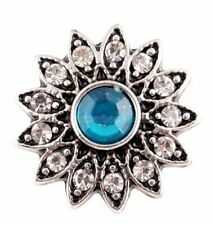 Silver Blue Clear Rhinestone Flower 20mm Snap Charm for Ginger Snaps Jewelry